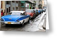 Cars In A Line Greeting Card