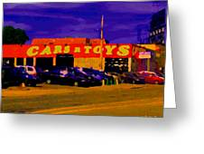 Cars R Toys Evening Rue St.jacques Used Cars Trucks Suvs Montreal Urban Scene Carole Spandau Greeting Card