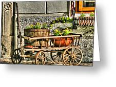 Cart And Flowers In Slovenia Greeting Card