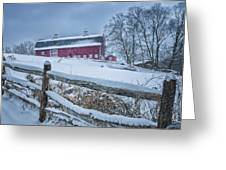 Carter Farm - Litchfield Hills Winter Scene Greeting Card by Thomas Schoeller