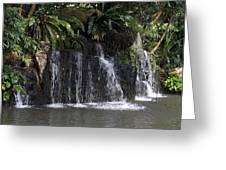 Cartoon - A Waterfall As Part Of An Exhibit Inside The Jurong Bird Park Greeting Card