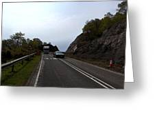 Cartoon - Car And Truck Crossing A Road Repair Section Of Highway In Scotland Greeting Card