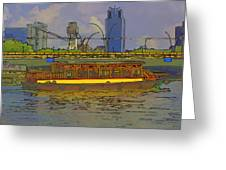 Cartoon - Colorful River Cruise Boat In Singapore Next To A Bridge Greeting Card