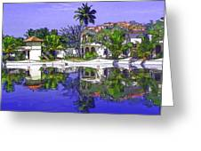 Cartoon - Cottages And Lagoon Water Greeting Card