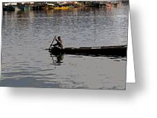Cartoon - Kashmiri Man Rowing A Small Wooden Boat In The Waters Of The Dal Lake Greeting Card