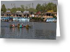 Cartoon - Ladies On 2 Wooden Boats On The Dal Lake With The Background Of Houseboats Greeting Card
