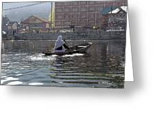 Cartoon - Light Following This Lady On A Wooden Boat On The Dal Lake In Srinagar Greeting Card