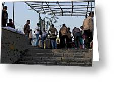 Cartoon - Locals And Tourists Standing At The Top Of The Steps Near The Dal Lake Greeting Card
