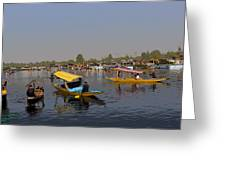 Cartoon - Multiple Number Of Shikaras On The Water Of The Dal Lake In Srinagar Greeting Card