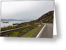 Cartoon - Road Along The Loch Alsh In The Scottish Highlands Greeting Card