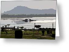 Cartoon - Shalimar Garden - The Dal Lake And Mountains In The Background In Srinagar Greeting Card