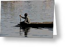Cartoon - Splashing In The Water Caused Due To Kashmiri Man Rowing A Small Boat Greeting Card