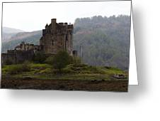 Cartoon - Structure Of The Eilean Donan Castle In Front With Dry Part Of Lake Greeting Card