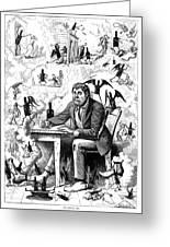 Cartoon Alcoholism, 1874 Greeting Card