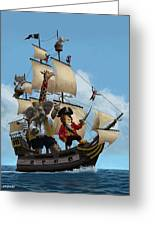 Cartoon Animal Pirate Ship Greeting Card