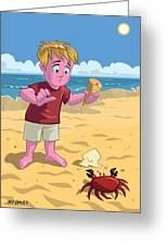 Cartoon Boy With Crab On Beach Greeting Card