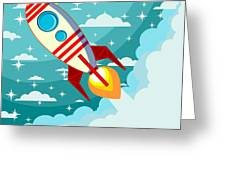 Cartoon Rocket Taking Off Against The Greeting Card