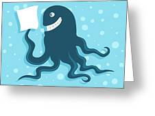 Cartoon Smiling Octopus With Paper In Greeting Card
