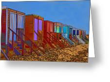Cartoonised Beach Huts Greeting Card