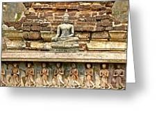 Carved Figures At Wat Mahathat In 13th Century Sukhothai Histori Greeting Card