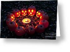 Carved Pumpkins With Pumpkin Pie Greeting Card