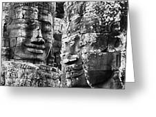 Carved Stone Faces In The Khmer Temple Greeting Card