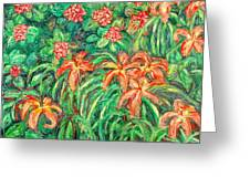 Cascading Day Lilies Greeting Card