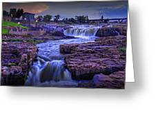 Cascading Waterfalls At Sunset Greeting Card