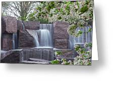 Cascading Waters At The Roosevelt Memorial Greeting Card
