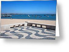 Cascais Promenade And Bay In Portugal Greeting Card
