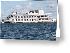 Casino Boat Coming Into Port Greeting Card