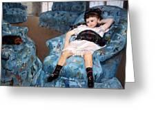 Cassatt's Little Girl In A Blue Armchair Greeting Card