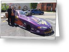 Cassie Simonton With Her Alcohol Funny Car Greeting Card