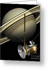 Cassini-huygens Probe And Saturn, Artwork Greeting Card