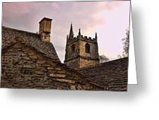 Sunset At Castle Comb Church - Wilshire England Greeting Card