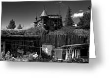 Castle In Black And White Greeting Card