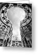 Castle Keyhole In Black And White Greeting Card
