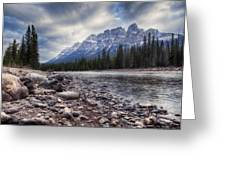 Castle Mountain River View Greeting Card