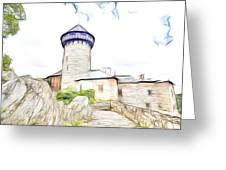 castle of the holy order - Sovinec castle Greeting Card
