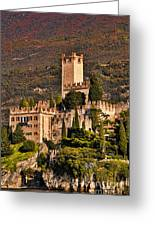 Sunset On The Castle On Lake Garda Italy Greeting Card