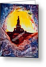 Castle Rock Silhouette Painting In Wax Greeting Card
