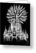 Castle With Fireworks In Black And White Walt Disney World Greeting Card