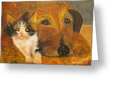 Cat And Dog Original Oil Painting  Greeting Card