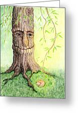 Cat And Great Mother Tree Greeting Card