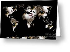Cat Eyes World Map 2 Greeting Card