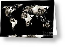 Cat Eyes World Map Greeting Card