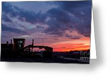 Cat Grader Sunset Silhouette Greeting Card
