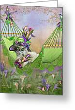 Cat In Calla Lily Hat Greeting Card