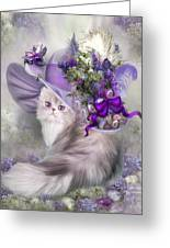 Cat In Easter Lilac Hat Greeting Card