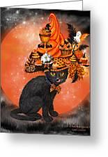 Cat In Halloween Cupcake Hat Greeting Card